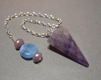 Purple Amethyst with Blue Italian Marble and Purple Lepidolite Beaded Handle Gemstone Crystal Dowsing Pendulum