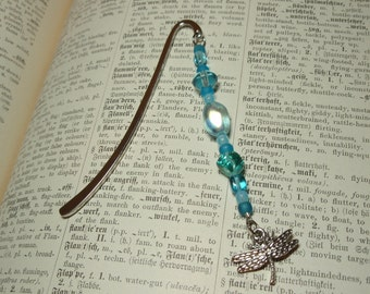 Dragonfly Charm Tiny Sky Blue Beaded Bookmark
