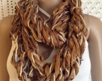 Cowl Handmade Chunky Shiney Shades of Brown