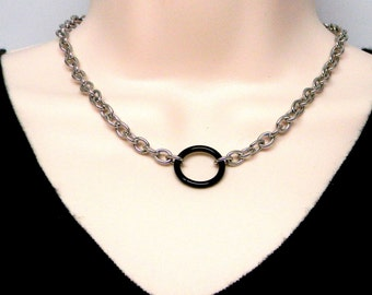 Discreet Slave Collar O Locking necklace Stainless Steel Chain With Black Anodized Titanium Captive Segment Ring Clasp
