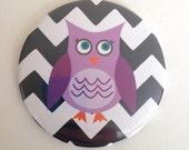 Jumbo Round Owl Magnet in Purple, Black and White Chevron