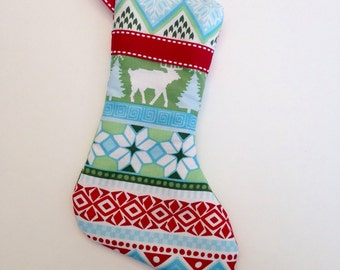 Fair Isle Mini Christmas Stocking Handmade Ornament Gift Card Holder