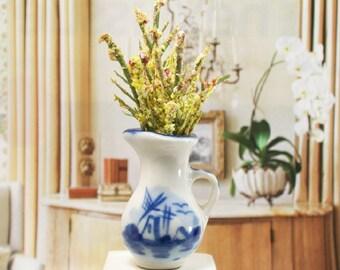 Yellow Floral Arrangement Flowers Blue China 1:12 Dollhouse Miniature Artisan