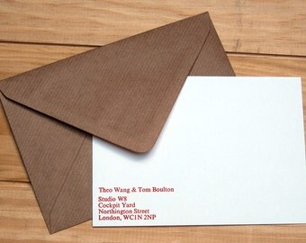 Personalised Letterpress Notelet Stationery Set - Times 12pt