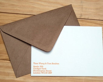 Personalised Letterpress Notelet Stationery Set - Rockwell 12pt