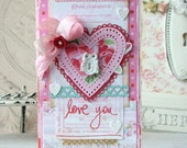 SALE Love you Shabby Chic Handmade Card
