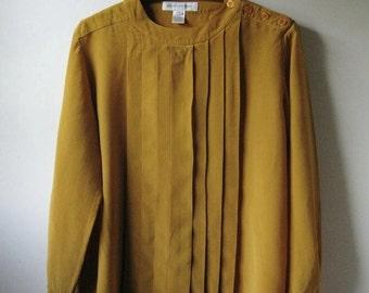 Vintage 90s Golden Yellow 100% Silk Pleats Blouse - M