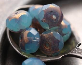 METALLIC GLOW No. 2 .. 10 Premium Picasso Czech Rondelle Beads 6x8mm (4431-10)