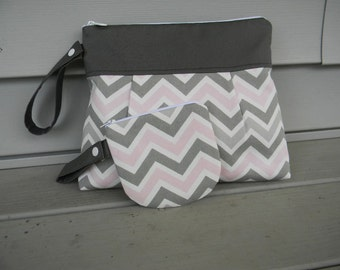 Diaper Clutch with Pacifier Holder with Waterproof Lining Gray Pink and White Chevron