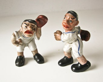 Baseball Players Figurines, Porcelain Catcher and Pitcher, Play Ball Sculptures