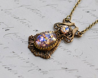 Purple Opal Necklace - Lovebirds and vintage glass Opal