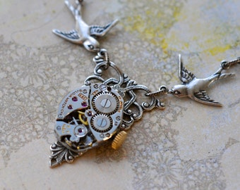 Steampunk Necklace - Vintage Bulova Watch Movement - Birds