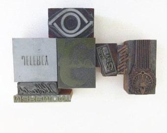 Vintage Letterpress Printers Block Variety, mid-century