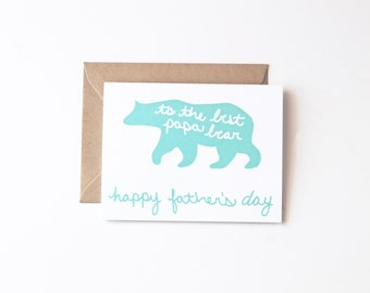 Papa Bear Father's Day Eco Friendly Recycled Paper Greeting Cards Fathers Day Card
