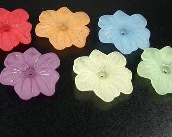 Acrylic Bead 4 Star Daisy Flower COLOR CHOICE 6-Petal Frosted 30mm (1030luc30m1)