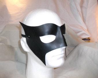 Leather Mask - Superhero black Mardi Gras Carnival Cosplay LARP
