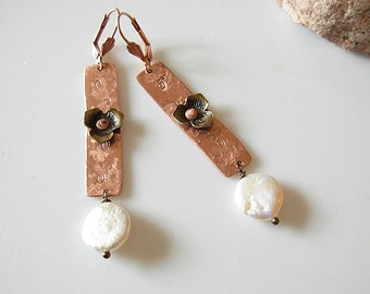 Earth and Sea Bar earrings-Metalwork Earrings from recycled elements- Copper and brass with Freshwater pearl dangling earrings