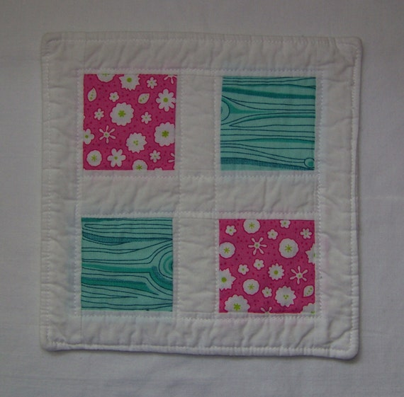 Scrappy Modern Mug Rug Or Coaster In Pink And By