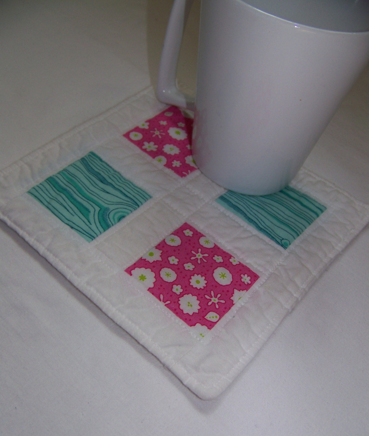 Scrappy Modern Mug Rug Or Coaster In Pink And Minty Green