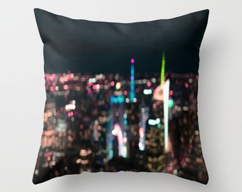 "Photo pillow, ""New York Manhattan Time Square"" Decorative Throw Pillow cover Cushion Various Sizes indoor outdoor happy abstract bokeh light"