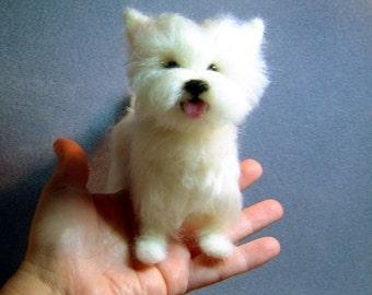 Custom felted dog Sculpture pet likeness Portrait memorial art Westie