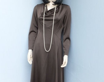 Vintage 1970s Dress by  Miss Elliette California   size 10, BROWN  / Deadstock New w/Tags