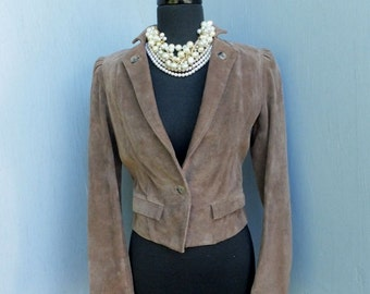 Vintage 1980s WILSON'S Cropped Suede Leather Jacket / Leather Jacket size 8