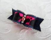 """5/8"""" Hot Pink Cowgirl Denim Dog bow"""