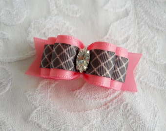 """5/8"""" Pink and Grey Marquis Dog Bow"""