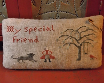 """Completed Cross Stitch """"My Special Friend"""" Pinkeep, Cupboard Tuck Pincushion, Bowl Filler  ~ Made To Order ~"""