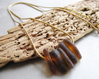 Sea Glass Necklace - Amber Brown - Gold Plated Chain - Sea Glass Simplicity Pendant