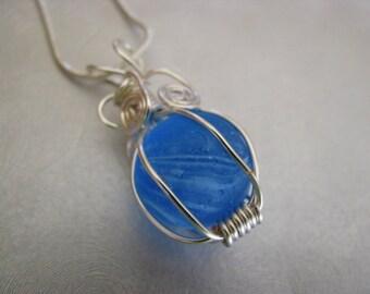 Sea Glass Pendant - Deep Blue Swirl Marble Pendant - Beach Glass Jewelry