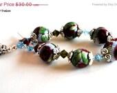 SpringFling Red Rose Bracelet, Blue Beaded, Handmade Polymer Clay Beads, Swarovski Crystals