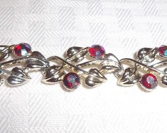 50s 60s Vintage Red Aurora Borealis Rhinestone Bracelet with Gold Tone Leaves