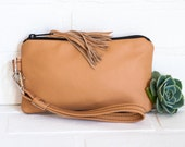small recycled tan leather clutch, wristlet, phone wallet, purse, tassel, make up bag, handmade, upcycled, repurposed, stacylynnc
