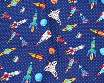 Space Rocket Stars and Planets Print Half meter   (n331)
