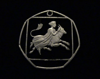 CYPRUS - cut coin jewelry -Woman On Flying Cow - 1963 - BRAND NEW