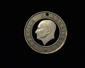 Turkey - cut coin pendant/key chain - Mustafa Kemal Ataturk