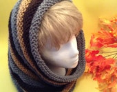 Luxury Hooded Cowl/Ribbed Cowl/Ribbed Knit Hood/Cowl/Knit Ridged Cowl