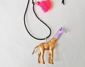 Giraffe Necklace Gold with Neon Pink Jewelry Tassel Necklace Boho Jewelry for Kids Giraffe Pendat Necklace Girls Animal Necklace