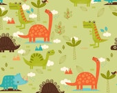 Dinosaurs and Zoo Animals in Green for Riley Blake Cotton Fabric - 1 Yard