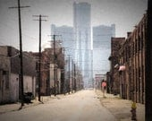 Franklin St., Detroit -  Canvas gallery wrap, Urban art,  home, office, den wall decor
