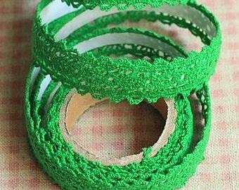 Green Lace Tape - Crochet Fabric, Decorative Cotton Adhesive