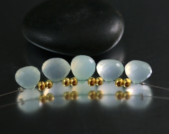 Chalcedony Briolette Beads - Aqua - Chalcedony Beads - Onion Briolettes
