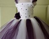 Flower Girl Dress, Junior Bridesmade, Flower Top, Tutu Dress, Tutu in Ivory  and Purple