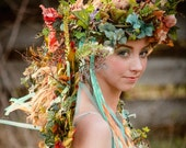 Woodland Faerie Floral Headdress Crown Wreath with Butterflies, Embellishments and Streaming Ribbons ~ CUSTOM CREATED