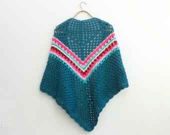 Boho Shawl, Hand Crocheted Teal Shawl, Hippie Shawl, Spring Shawl,  Soft  Wrap, Vegan Scarf , Ready to Ship
