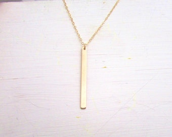 Skinny Gold Bar Necklace, Hanging Gold Bar, Drop Bar Necklace , Rose Gold Bar Necklace, Everyday Wear, Silver Bar Necklace, Initial Necklace