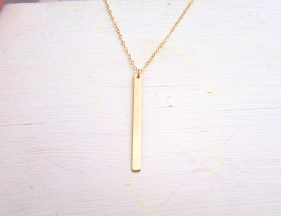 Skinny Gold Bar Necklace Hanging Gold Bar Drop Bar Necklace