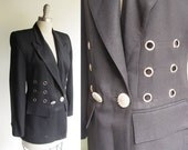 Rock Star 80s Jacket /  Vintage 1980s Black Crepe Jacket / Halloween perfect with Grommets and Glitter Buttons / Criscione / Med size 8 10